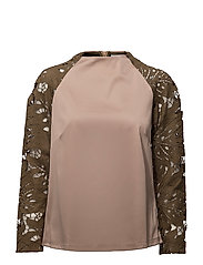 Scuba top w. lace sleeve - DARK POWDER/DARK OLIVE