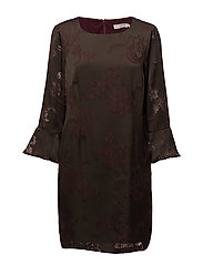 Dress w. sleeve ruffle burn-out - BURN-OUT JACQUARD