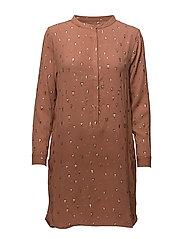 Shirt dress w. foil print - TRIANGLE FOIL PRINT OLD ROSE