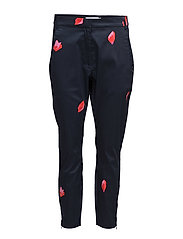 Trousers w. Blot print - DARK BLUE SPOT PRINT