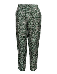 Cupro pants w. japanese waves - JAPANESE WAVES GREEN
