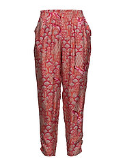 Cupro pants w. japanese waves - JAPANESE WAVES RED