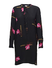 Shirt dress w. Mokuren print - MOKUREN