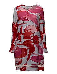 Moss crepe dress w. Branch print & - BRANCH PRINT AND BLUE