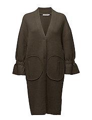 Angora knit coat - MOSS GREEN