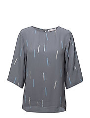 Blouse w. 3/4 sleeves and summer ra - STEEL BLUE SUMMER RAIN
