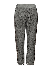 Pants w. lace and leopard stribe - STEEL BLUE