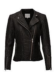 Leather jacket w. mesh - BLACK
