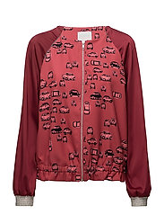 Jacket w. roadtrip print - DARK SALMON ROADTRIP
