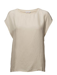 Top in cupro w. jersey back - CREME