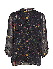 Blouse in Botanical print w. ruffle - BLACK