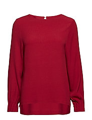 Blouse w. pleated cuff - WINE RED