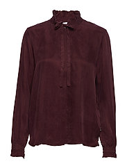 Shirt w. ruffle and bow - BORDEAUX