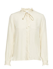 Shirt w. ruffle and bow - CREME