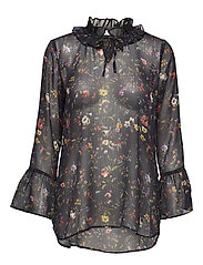 Top in Botanical print w. ruffle neck and volant sleeves - BLACK