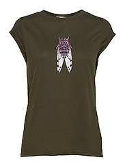 T-shirt w. fly print - HUNTER GREEN