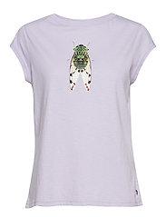 T-shirt w. fly print - PASTEL LILAC