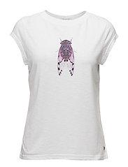 T-shirt w. fly print - WHITE