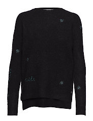 Sweater in mohair knit w. embroider - BLACK