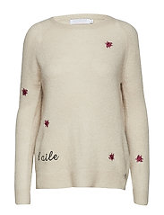 Sweater in mohair knit w. embroidered flies - OFF WHITE