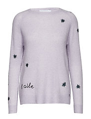 Sweater in mohair knit w. embroider - PASTEL LILAC