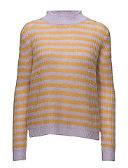 Sweater in thin mohair knit w. stri - PASTEL LILAC