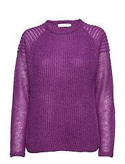 Sweater in thin and thick kid mohair w. ripple detail - PINK LILAC