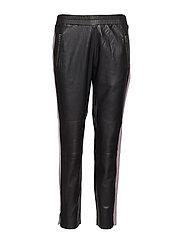 Leather pants w. stripe - BLACK