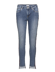 Jeans - relaxed fit, ankle lenght w. little flare and stripe - CLASSIC INDIGO