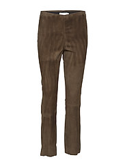 Cropped stretch leggings in suede w - RACOON