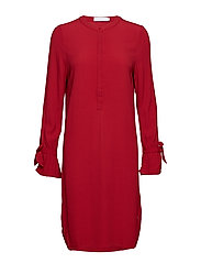 Shirt dress w. tieband cuff - WINE RED