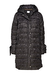 Long coat in faux down look w. camo - BLACK