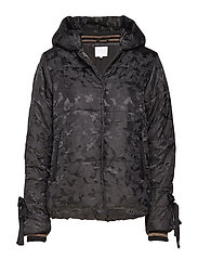 Jacket in faux down w. camouflage - BLACK