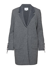 Knit coat bonded w. jersey and tied cuffs - GREY MELANGE