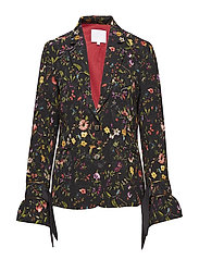 Suit jacket in Botanical print w. t - BLACK