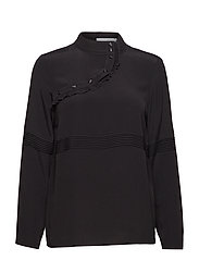 Blouse w. pleating details - BLACK