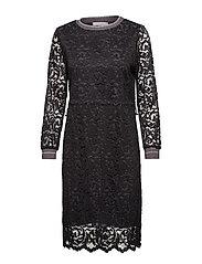Dress in lace w. rib detail - BLACK