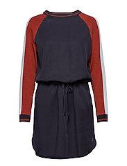 Dress w. knitted sleeves - DARK BLUE