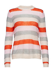 Sweater in mohair knit w. stripes - SHOCKING ORANGE/ CLOUD PINK