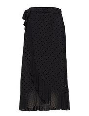 Skirt in mesh w. velvet dots - BLACK