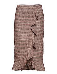 Skirt in checks w. ruffle and pibin - CHECKS