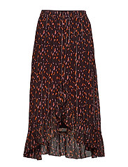 Skirt in Seeds print w. tie and ruf - SEEDS PRINT
