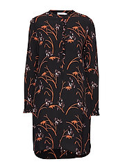 Shirt dress in Hibiscus print - BLACK