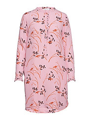 Shirt dress in Hibiscus print - PINK