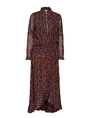 Dress in Seeds print w. ruffle - SEEDS PRINT