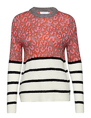 Sweater in mohair jacquard - LEOPARD AND STRIPES