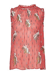 Coster Copenhagen Top in sky print w. lurex - CANYON ROSE
