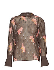 Blouse in sky print w. lurex - GREY PLUM