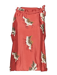 Top in sky print w. tie-band in nec - CANYON ROSE