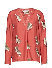 Coster Copenhagen Blouse in sky print w. v-neck - CANYON ROSE